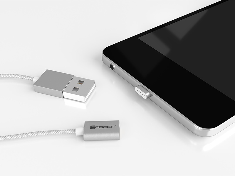 Magnetic cable TRACER USB 2.0 Iphone AM - lightning 1,0m silver